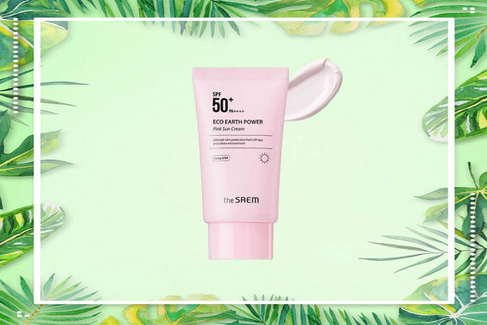 Kem chống nắng The Saem Eco Earth Pink Sun Cream (màu hồng)
