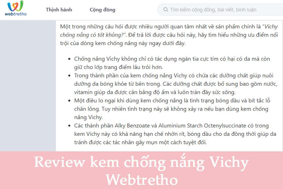 Review về kem chống nắng Vichy trên Webtretho