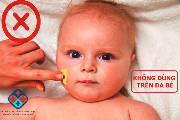 Không nên sử dụng sản phẩm nên da em bé