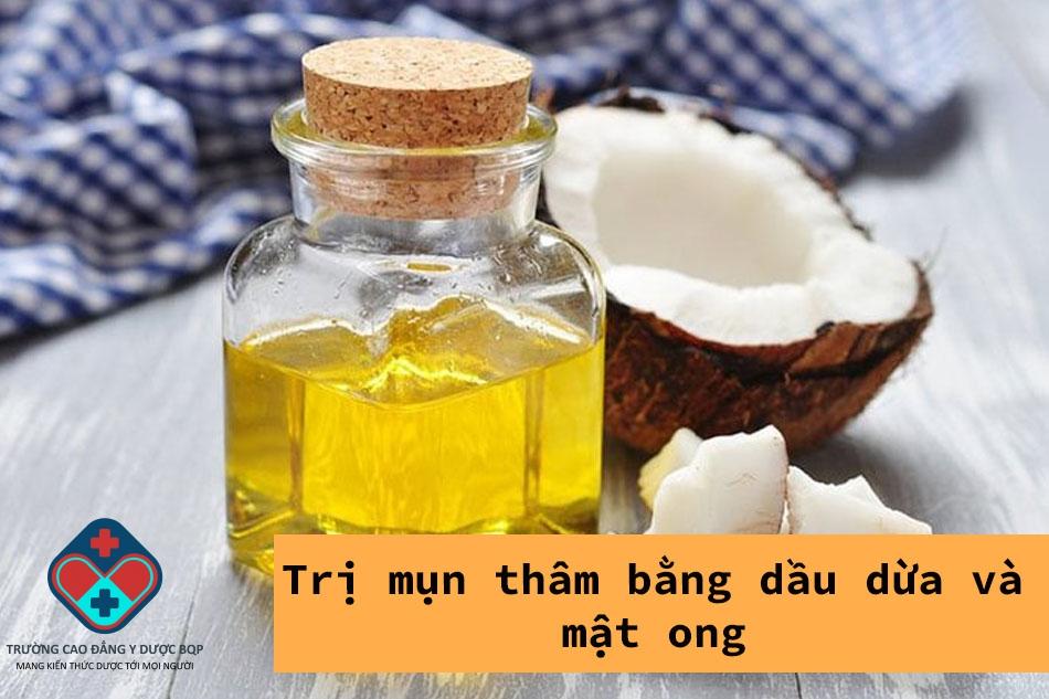 Trị mụn thâm bằng dầu dừa và mật ong