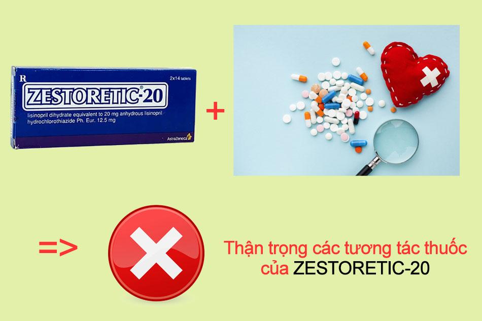 Thận trọng các tương tác thuốccủa ZESTORETIC-20